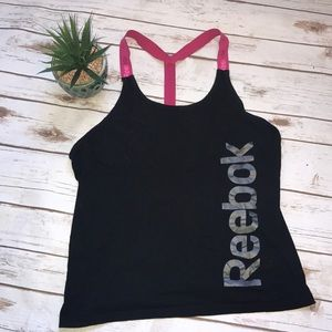 🎄Reebok Black And Pink Tank Top Size Medium